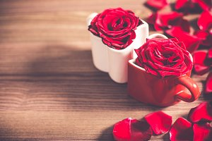 Love Heart Mugs with Red Roses