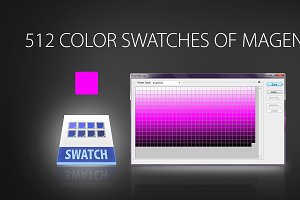 512 color swatches of magenta