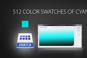 512 color swatches of cyan