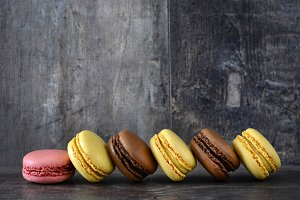 Macarons on a rustic wood