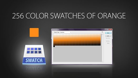 256 Color Swatches Of Orange Palettes