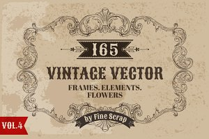 165 Vintage Vector Elements. Vol4