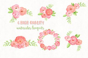 6 floral watercolor bouquets