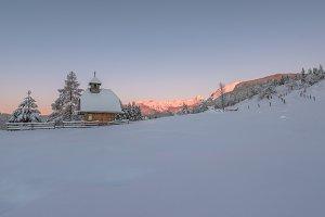 Church in the hills at sunrise