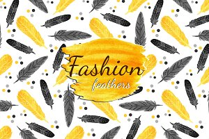 Watercolor feathers patterns. Vector