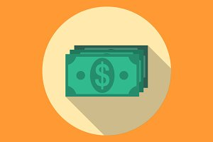 Dollars banknotes flat icon