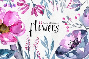 12 Watercolor floral elements