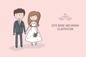 Cute bride and groom print