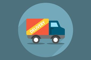 Delivery Truck Icon Flat