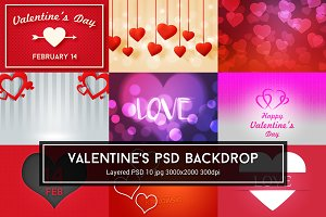 Valentine's Day PSD Backdrop