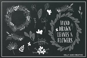 Hand Drawn Flowers & Foliage B&W