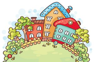 Cartoon Houses and Trees