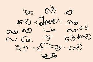Doodle Scrolls, Swirls, Love set