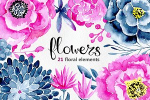 21 Watercolor floral elements