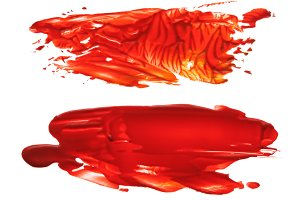 red acrylic brush strokes blots