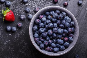 Blueberries, dark rustic style