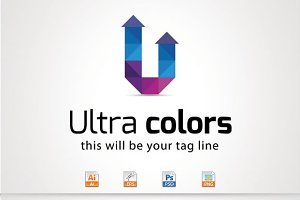 Ultra colors,U Letter Logo