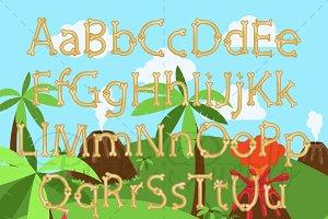 Dinosaur Bone Alphabet & Background