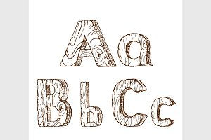 Hand-drawn wooden alphabet  A B C
