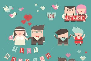 Collection of just married couples