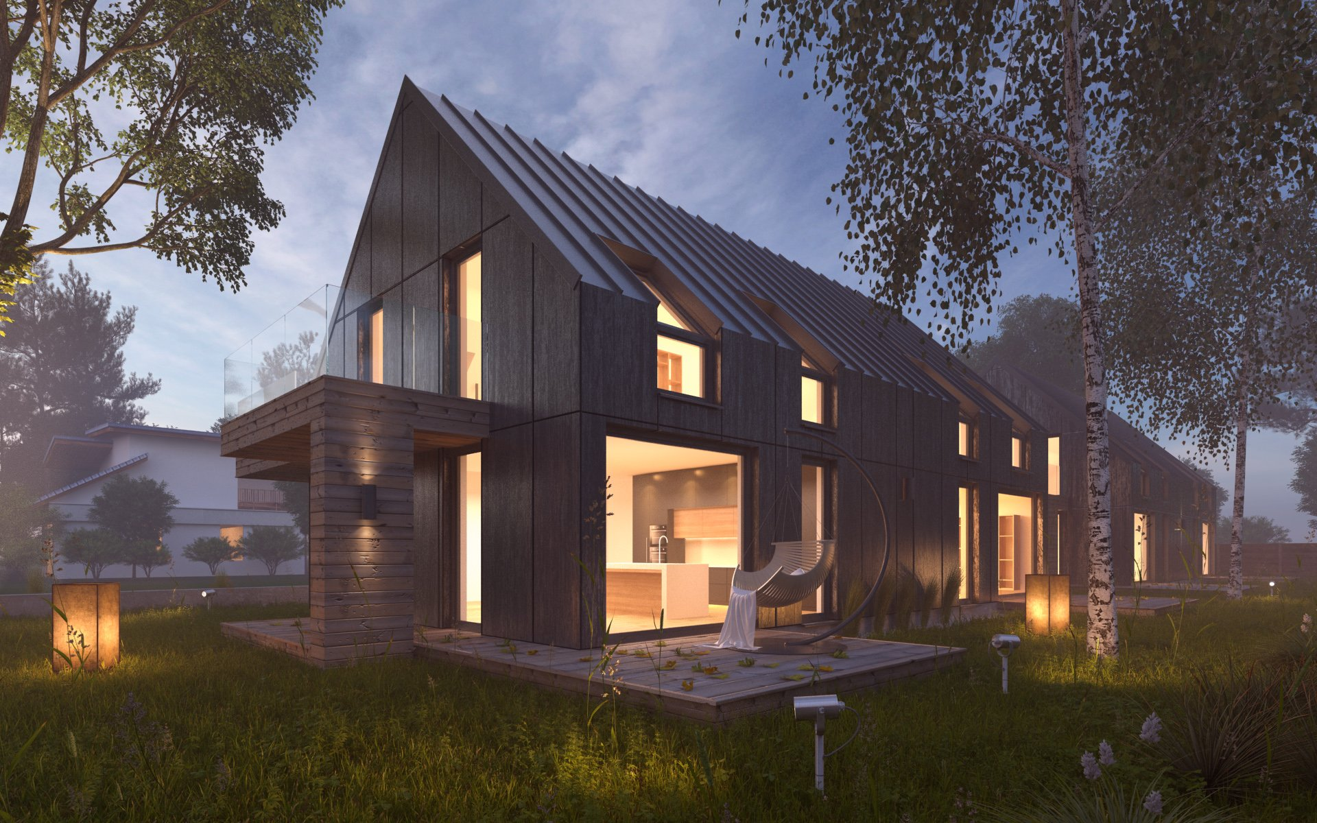 Vray night pro setup scene house architecture for Revit architecture modern house design 1