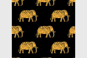pattern with indian elephants