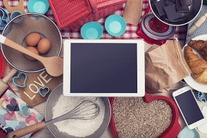Tablet pc home baking hero header