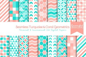 Seamless Turquoise & Coral Geometric