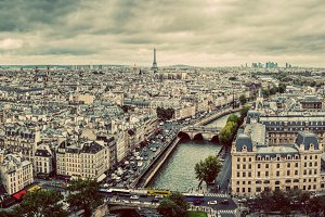 Vintage panorama of Paris.