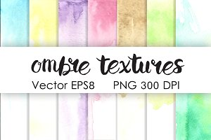 Ombre watercolor pastel textures set