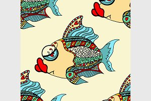 Tangle Patterns fish background.
