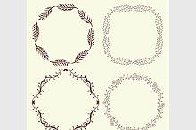 Set of 4 hand drawn frames, vector