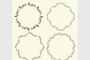 Set of 4 hand drawn frames, vector