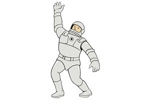 Astronaut Waving Front Cartoon