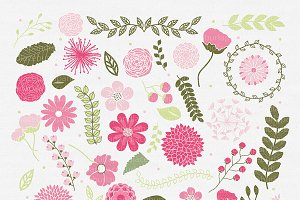 Vector Pink flowers clipart