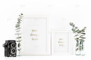 Styled Stock White Frames Mockup