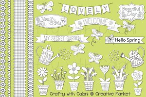 Spring Garden Digital Stamp Set