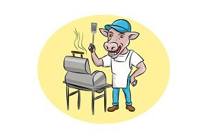 Cow Barbecue Chef Smoker Oval