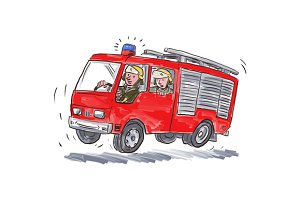 Red Fire Truck Fireman Caricature