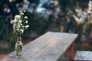 Vase on wooden desk