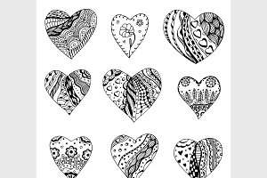 Tangle Patterns style hearts