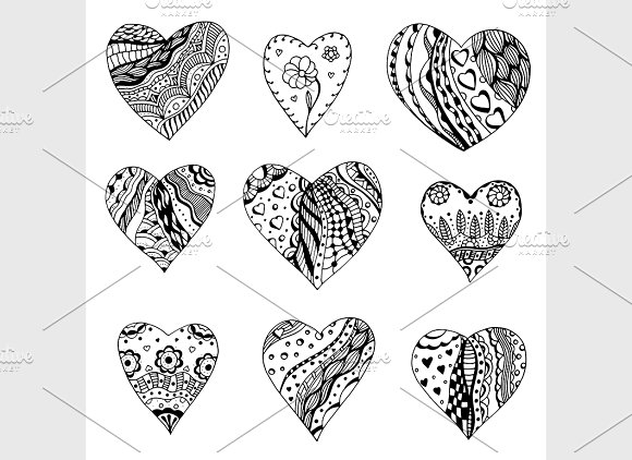 Tangle Patterns Style Hearts Graphic Patterns Creative Market Magnificent Tangle Patterns
