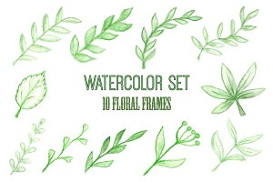 Floral frames, watercolor set