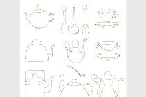 Set of Tea accessories.