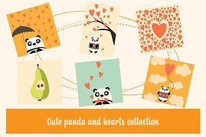 Cute panda and hearts collection