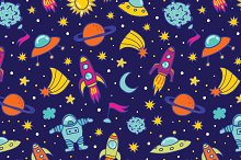 Vector Flat Space Seamless Pattern Background Stock Vector ...  Space Repeating Background Patterns