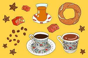 Vector turkish coffee and tea.