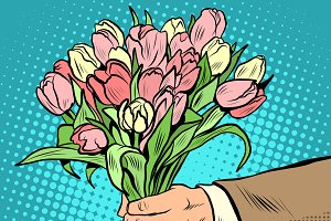bouquet tulips flowers gift