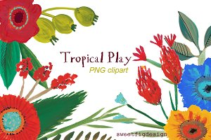 hand painted clip art tropical