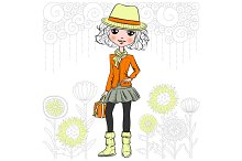Vector hipster girl in a hat